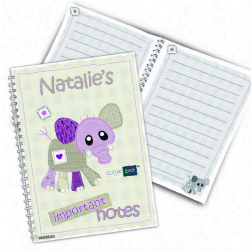 Personalised Cotton Zoo Wynciette the Elephant Notebook